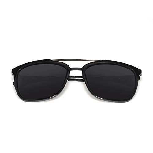 Polarized Sunglasses Men Women Classic Retro Pilot Sun Glasses Brand Design Light TR90 Frames With Alloy Eyewear (Shiny Black, Gray) from RAYTON