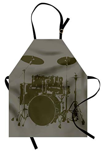 Lunarable Music Apron, Grunge Drum Kit for Bass Rythm Lovers Ba Dum TSS Image Sketchy Art, Unisex Kitchen Bib Apron with Adjustable Neck for Cooking Baking Gardening, Green Brown Pale Sage Green for $<!--$19.95-->