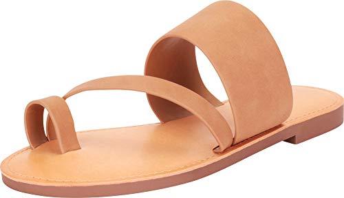 (Cambridge Select Women's Toe Ring Strappy Slip-On Flat Slide Sandal (10 B(M) US, Light Tan NBPU))
