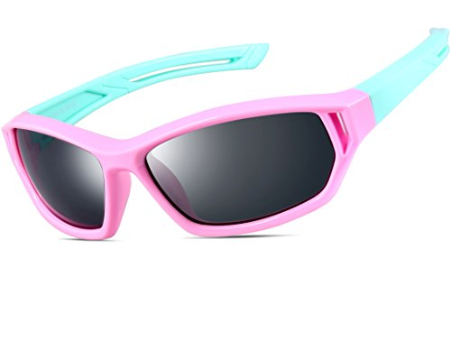 Price comparison product image ATTCL® 2016 Kids Sports TR90 Polarized Sunglasses Wayfarer Style For Boys Girls 864 Pink Blue
