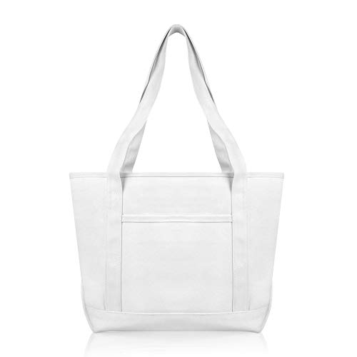 (DALIX Daily Shoulder Tote Bag Premium Cotton in White)
