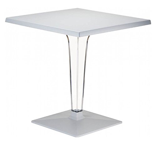 Compamia Ice 28-Inch Square Dining Table with Transparent Base, Silver