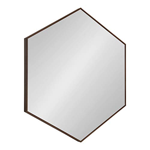Kate and Laurel Rhodes 6-Sided Hexagon Framed Wall Mirror, 30.75x34.75, Walnut - Mid Mirrors Bathroom Modern Hexagon Century