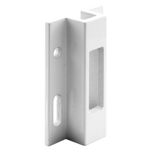 Prime-Line E 2124 Sliding Door Keeper, White Extruded Aluminum, For Hook Style Latch, Viking, Pack of 1 ()