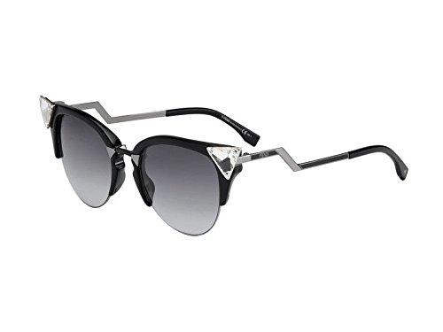 Fendi Women's Iridia Crystal Corner Sunglasses, Black Ruthenium/Grey Grad, One Size (Retro Fendi Sunglasses)