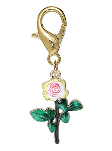 Pink Rose Green Flower Enamel Gold Tone Lobster Clip Dangle Charm for Bracelets Crafting Key Chain Bracelet Necklace Jewelry Accessories ()