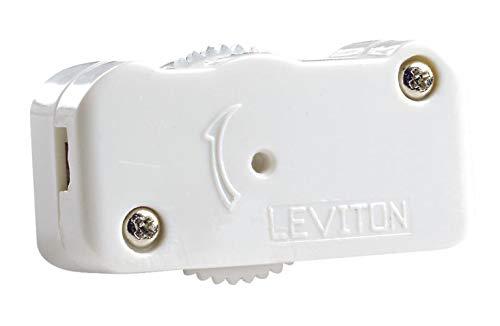 Leviton 1420-W 200W Feed-Through HI-LO-OFF Incandescent Lamp Cord Dimmer, Single-Pole, White