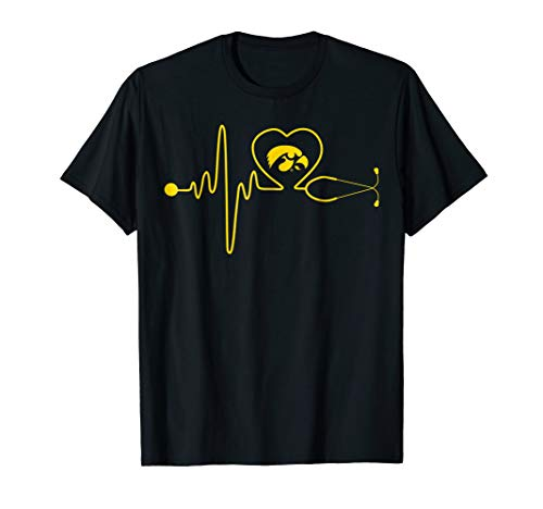 Iowa Hawkeyes Stethoscope Heartbeat T-Shirt - Apparel