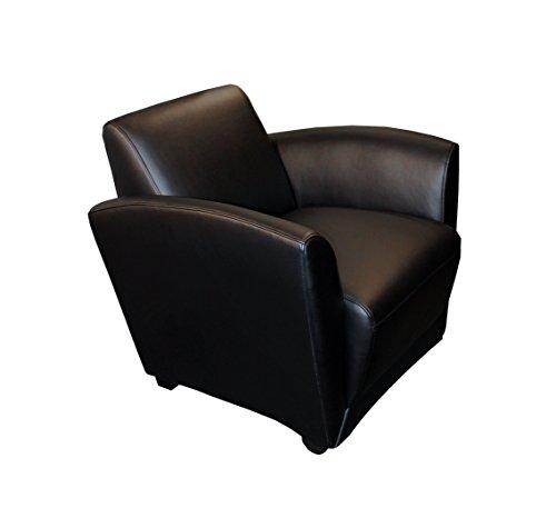 Mayline VCCMBLK Santa Cruz Mobile Leather Lounge Chair, Black Leather