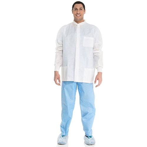 Kimberly Clark Universal precautions Lab Jacket - White -Large (68.24.75cm x 77.5cm x 49.5cm)- 25 per Case by Kimberly-Clark