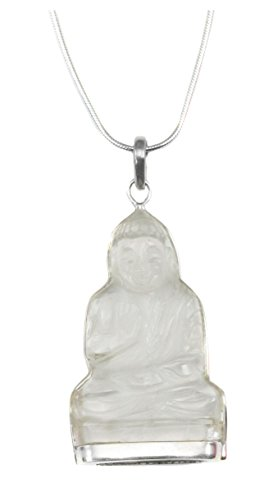 Sterling Silver Quartz Pendant Necklace Sitting Buddha Carved Clear Snake Chain, 20