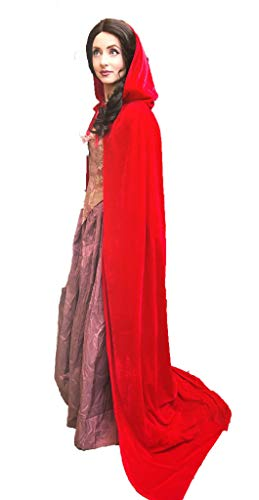 Ridge & Queens Full Length Deluxe Velvet Cloak/Cape with Lined Hood for Adults (Red) -