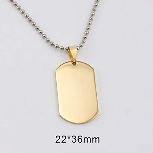 Small Dog Tag Blank Charms | Mirror Polish Pendant | Stainless Steel Pendant (10Pcs) (Gold 50cm - Pendant Shell Polish Shells