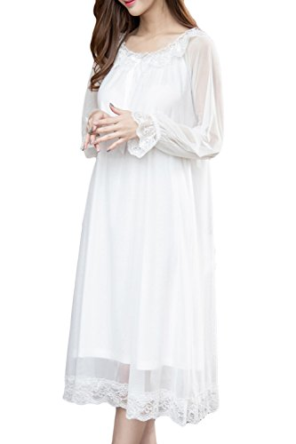 (Asherbaby Women's Lace Vintage Victorian Nightgown Sheer Long Sleeve Sleep Dress White US S/Asian Tag)