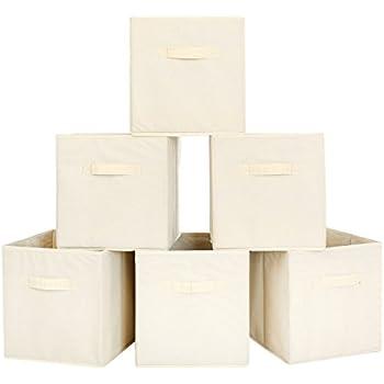 Amazon.com: BASTUO Storage Bins 6 Boxes Non-Woven Fabric Foldable Clothes Organizer Basket Beige
