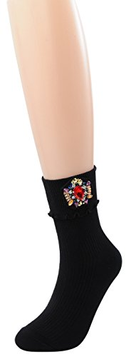 FULIER 1 Pack Women New Fashion Manual Gemstone Sequin Design Beauty Dress Crew Socks (Black)
