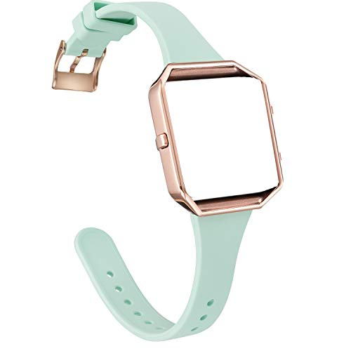 Amcute Compatibe for Blaze Band Slim Narrow Thin Silicone Replacement Wristband with Metal Frame for Blaze Bands Women Men Small Large