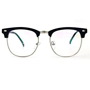 Natwve&Co Retro Half Frame Semi-Rimless Eyeglasses Vintage Designer Glasses (806) (Matt Blue)