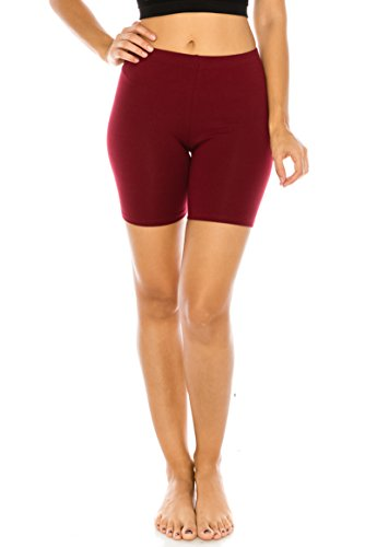 The Classic Women's Stretch Cotton Jersey Bike Shorts in Burgundy - X-Large -