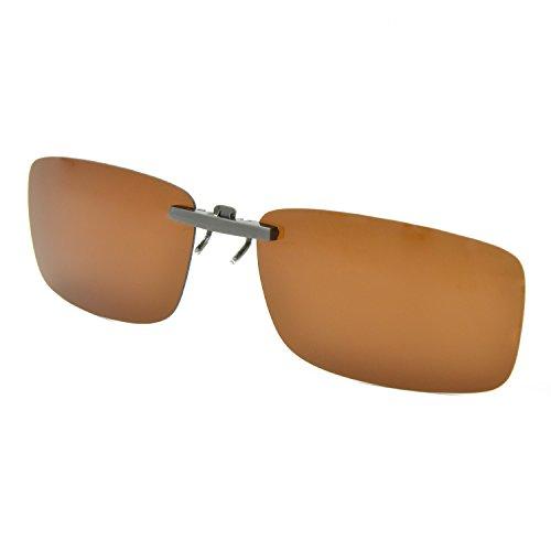 Besgoods Clip-on Sunglasses Polarized Glasses Lenses Driving Fishing Sport - Brown