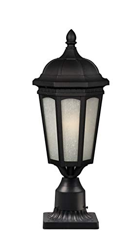 Z-Lite 508PHM-533PM-BK Newport Outdoor Post Light, Metal Frame, Black Finish and White Seedy Shade of Glass Material