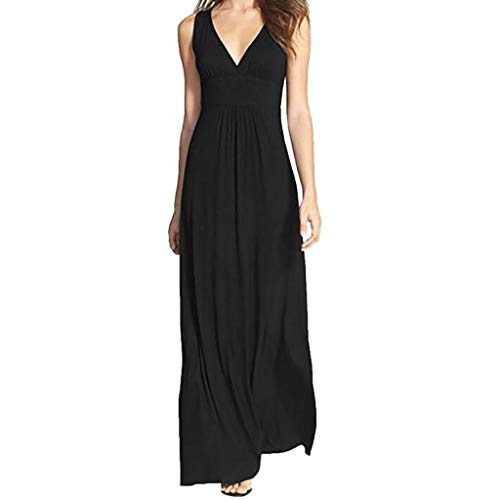 Other-sey Women Dress Fashion Casual Summer Above Knee Sleeveless Deep V Neck Long Maxi Casual Dress Black