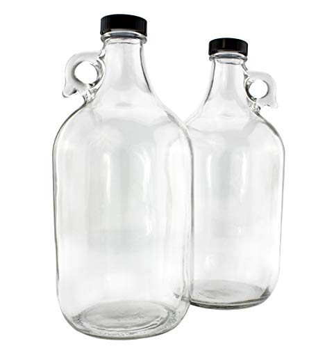 64-Ounce/Half Gallon Clear Glass Kombucha Growler Jugs w/Polycone Phenolic Lids (2-Pack); Great for Home Brew, Distilled Water, Cider & More ()
