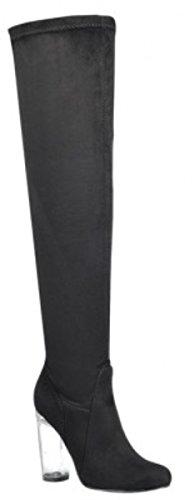 Dev Womens Thig Hoog Over De Knie Duidelijk Blok Hak Teken String Amandel Teen Slip Op Laarzen Zwart / Clear-48