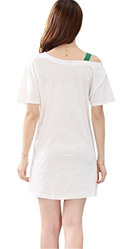 Pigiama Sexy lettere Vestaglie Cotone shirt Donna Stampa T DaBag Maniche Bianco Vestito una Pigiami di Spalla lunga Adorabile Cocktail Corte Festa Abito da Comodo Sq4fAwAE