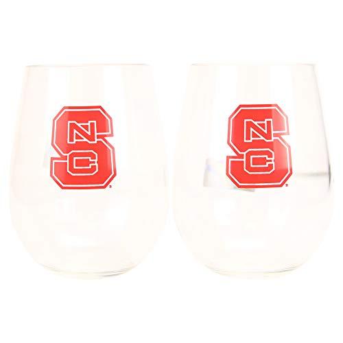 NCAA Stemless Shatterproof Plastic Wine Glass 2-Pack (North Carolina State Wolfpack)