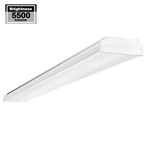 AntLux 4ft LED Garage Shop Lights, LED Wraparound Light Fixture 50W, 5500 Lumens, 4000K Neutral White, 4 Foot Integrated Low Profile Linear Flushmount Ceiling Lighting, 120W Fluorescent Replacement