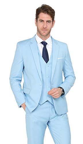 MAGE MALE Men's 3 Pieces Suit Elegant Solid One Button Slim Fit Single Breasted Party Blazer Vest Pants Set,Light Blue,X-Small
