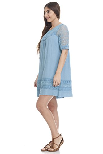 Peace & Love by Calao Damen Besticktes Minikleid aus Baumwolle Blau (Denim Bs) Eqzqj
