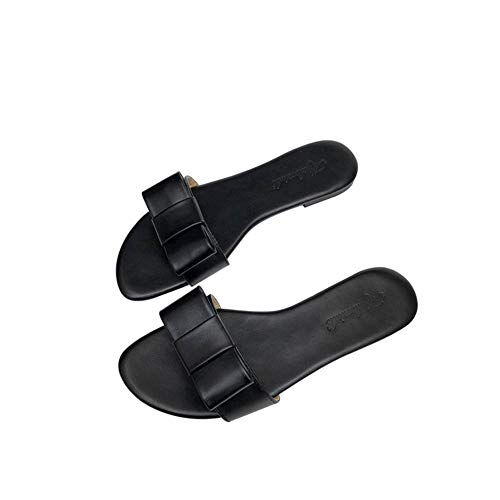 Pie Antideslizante Mariposa Cuero Dedo Tacón Respirable Zapatos Exposición Del De 40 Mujer Bajo Verano Sandalias Durable Nudo Zapatillas black wOtg0qn