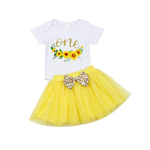 Baby Girl First Birthday Party Dress Unicorn Romper Rainbow Tutu Skirt Headband One Outfit (18-24 Months, White Romper+Yellow Skirt Set)