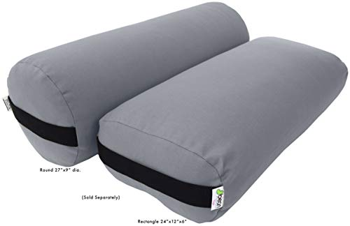 - Bean Products Yoga Bolster - Cotton Round - Stone Gray