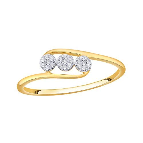 IGI Certified Diamond Accent Three Flower Bypass Ring in 10K Yellow Gold (0.08 Cttw)