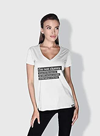 Creo Im Not Clumsy Funny T-Shirts For Women - M, White