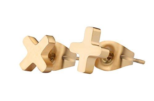 [Charm Small Cross Earrings 18K Gold Tiny Christian Jewelry Stud Earrings (Gold)] (18k Titanium Cross)