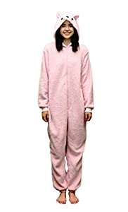Women's Pink Plush Cat Pj Onesies Jumpsuit