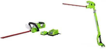 GreenWorks G-24 Cordless 22 Hedge Trimmer and 20 Pole Hedge Trimmer