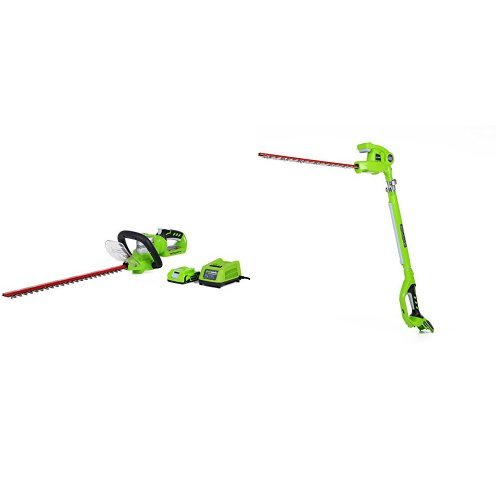 GreenWorks G-24 Cordless 22'' Hedge Trimmer and 20'' Pole Hedge Trimmer by Greenworks