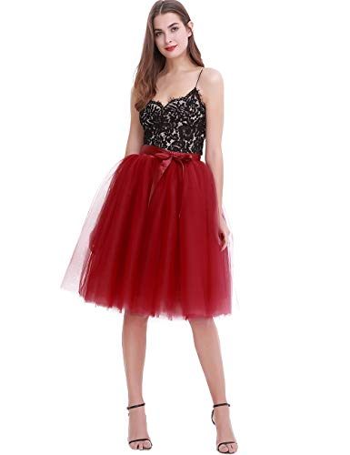 Women's High Waist Pleated Princess A Line Midi/Knee Length Tutu Tulle Skirt for Prom Party (Free Size, Red Wine) -