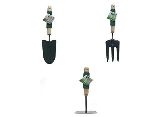 Smart Value 3-Piece Gardening Tool Set, Hand Trowel Deluxe, Hand Fork Deluxe and Garden Hoe by Smart Value