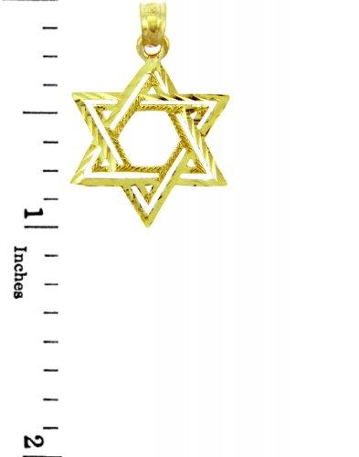 10 ct 471/1000 Charme Juive - DoubleEtoile Pendentif Collier (Livre Avec un 45 cm Chaine)