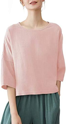 MEOMUA Women`s Linen Blouses 3/4 Sleeves Round Neck Cutie Cotton Tunic Tops