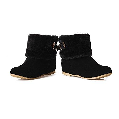 AllhqFashion Mujeres Gamuza(Imitado) Caña Baja Sólido Sin cordones Mini Tacón Botas Negro