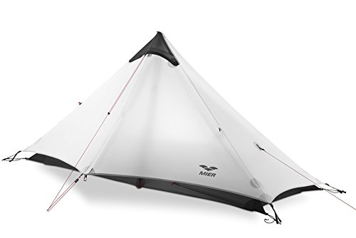 MIER Ultralight Tent 3-Season Backpacking Tent for 1-Person or 2-Person Camping, Trekking, Kayaking, Climbing, Hiking (Trekking Pole is NOT Included), White, 1-Person