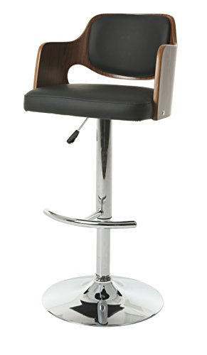 Pastel Furniture Oz Swivel Stool with Arms, Chrome/Walnut Veneer ()