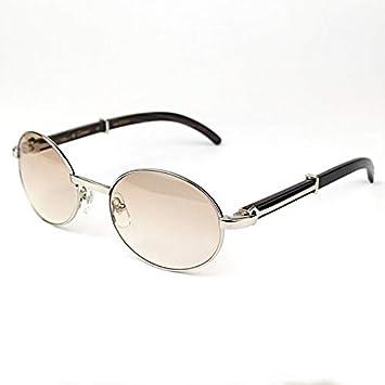 LKVNHP Nueva Oval Gafas De Sol Madera Metal Carter Hombres ...
